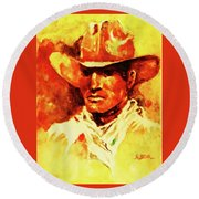 Portrait Of A Nostalgic Cowhand Round Beach Towel