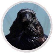 Portrait Of A Raven Round Beach Towel