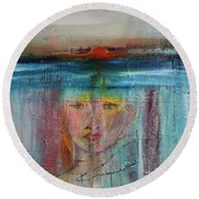 Portrait Of A Refugee Round Beach Towel by Kim Nelson