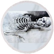Portrait Of A Skeleton Round Beach Towel