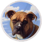 Portrait Of A Sweet Boxer Round Beach Towel