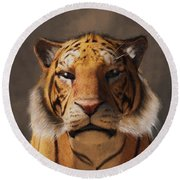 Portrait Of A Tiger Round Beach Towel by Daniel Eskridge