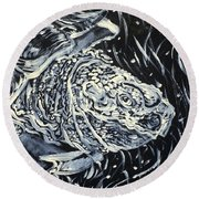 Round Beach Towel featuring the painting Portrait Of A Turtle by Fabrizio Cassetta
