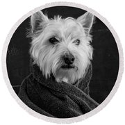 Round Beach Towel featuring the photograph Portrait Of A Westie Dog 8x10 Ratio by Edward Fielding