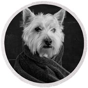 Portrait Of A Westie Dog Round Beach Towel by Edward Fielding
