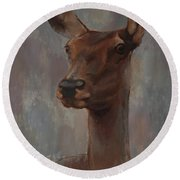 Portrait Of A Young Doe Round Beach Towel