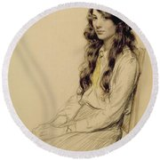 Portrait Of A Young Girl Round Beach Towel