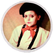 Portrait Of A Young Mime Round Beach Towel