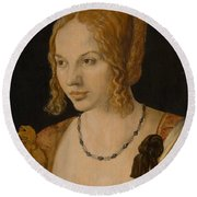 Portrait Of A Young Venetian Woman Round Beach Towel