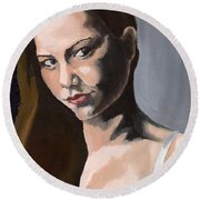 Portrait Of Amanda Round Beach Towel