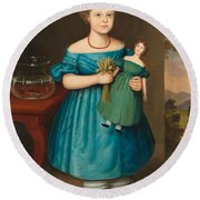 Portrait Of Amy Philpot In A Blue Dress With Doll And Goldfish Round Beach Towel