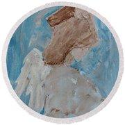 Portrait Of An Angel Round Beach Towel