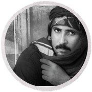 Portrait Of An Arab Man Round Beach Towel