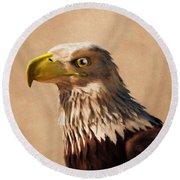 Round Beach Towel featuring the digital art Portrait Of An Eagle by Daniel Eskridge