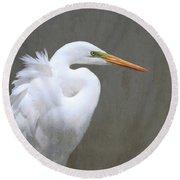 Portrait Of An Egret Round Beach Towel