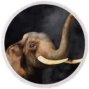Round Beach Towel featuring the digital art Portrait Of An Elephant by Daniel Eskridge