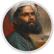 Round Beach Towel featuring the painting Portrait Of An Indian Sardar by Edwin Frederick Holt