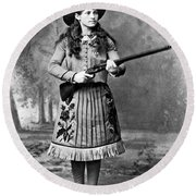 Portrait Of Annie Oakley Round Beach Towel