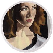 Portrait Of Becca Round Beach Towel