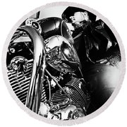 Portrait Of Biker Man Sitting On Motorcycle - Black And White Round Beach Towel