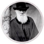 Portrait Of Charles Darwin Round Beach Towel