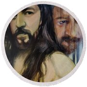 Portrait Of Cristo Soto Round Beach Towel