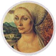 Portrait Of Elisabeth Tucher Round Beach Towel