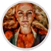 Portrait Of Female With Hair Billowing Everywhere In Radiant Unsmiling Sharp Features Golden Warm Colors And Upturned Nose Curls And Aliens Of The Departure Round Beach Towel by MendyZ