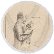 Portrait Of George Stubbs By James Bretherton Round Beach Towel