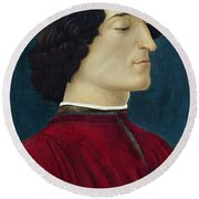 Portrait Of Giuliano De' Medici Round Beach Towel