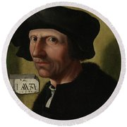 Portrait Of Jacob Cornelisz Van Oostsanen Round Beach Towel
