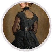 Portrait Of Kate Perugini Daughter Of Charles Dickens Round Beach Towel