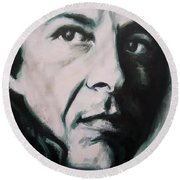 Portrait Of Leonard Cohen Round Beach Towel