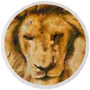 Round Beach Towel featuring the photograph Portrait Of Lion by Scott Carruthers