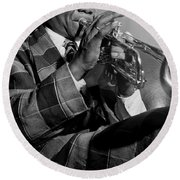 Portrait Of Louis Armstrong Round Beach Towel