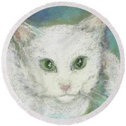 Portrait Of Misty Round Beach Towel