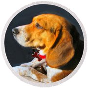 Portrait Of Pebbles - The Independent Beagle Round Beach Towel