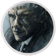 Charcoal Portrait Of President Obama Round Beach Towel
