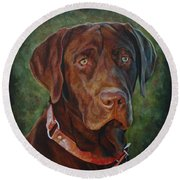 Portrait Of Remington 0094_2 Round Beach Towel