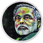 Portrait Of Shri Narendra Modi Round Beach Towel
