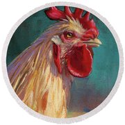 Portrait Of The Chicken As A Young Cockerel Round Beach Towel