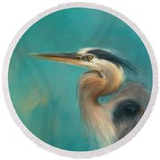 Portrait Of The Heron Round Beach Towel