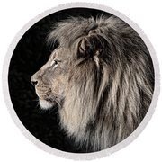 Portrait Of The King Of The Jungle II Round Beach Towel by Jim Fitzpatrick