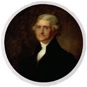 Portrait Of Thomas Jefferson Round Beach Towel by Asher Brown Durand