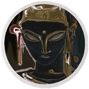 Portrait Of Vajrasattva Round Beach Towel by Rabi Khan