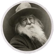 Portrait Of Walt Whitman Round Beach Towel