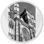 Portrait Of Westminster Abbey Round Beach Towel