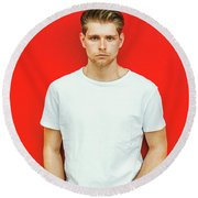 Portrait Of Young Handsome Man Round Beach Towel