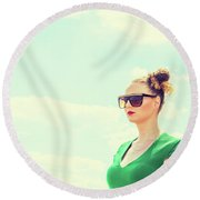 Portrait Of Young Woman Round Beach Towel
