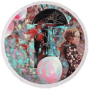 Portrait. Pink Dreams Round Beach Towel